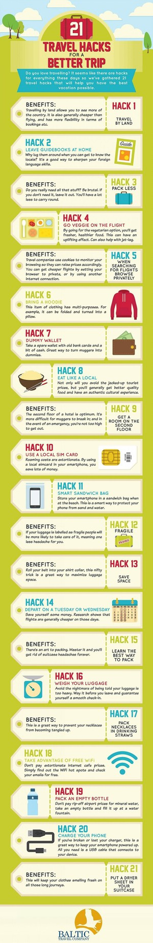 travel hacks to have a better trip infographic